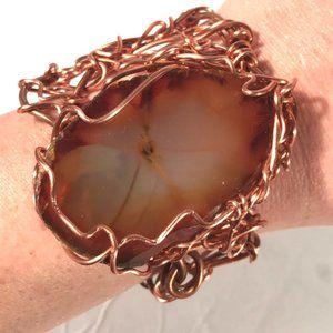 Huge Agate Genuine Gemstone Copper Cuff Bracelet